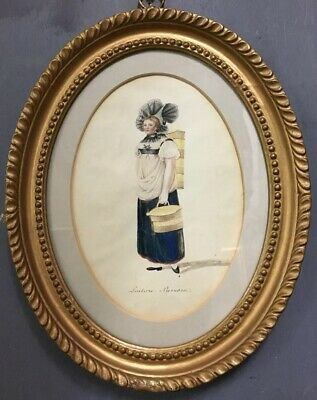 Antique 19th Century French Painting Of A Lady In Gold Gilt Frame