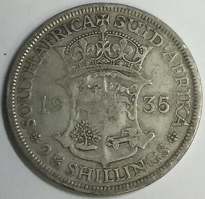 1935 South Africa 2 1/2 Shilling F Uncertified #