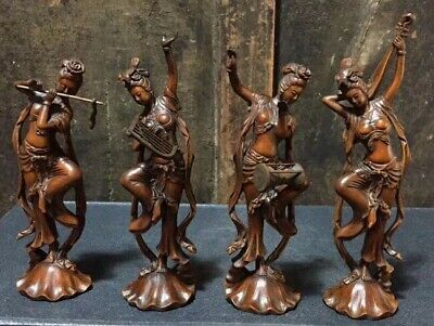 China Collectable Handwork Boxwood Carve Four Classical Belle Lucky Set Statue