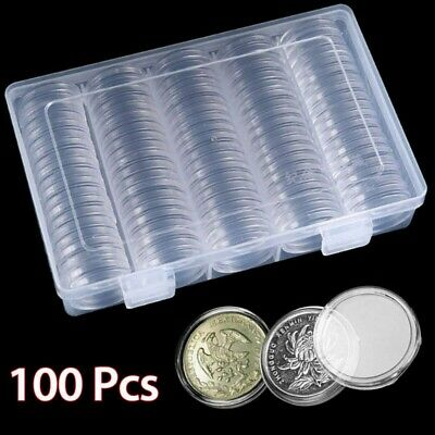 100Pcs 30mm Coin Cases Capsules Holder Applied Clear Plastic Round Storage Boxes