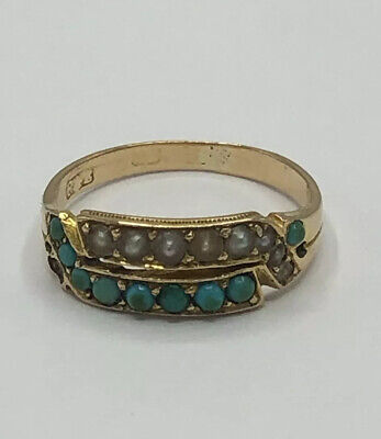 Gorgeous Antique Art Deco Style 14ct Seed Pearl Turquoise Cabochon Double Ring J