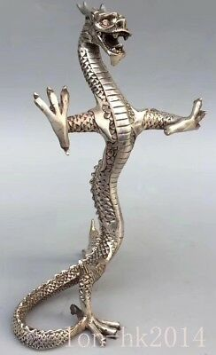 China Collectable Handwork Miao SIlver Carve Mighty Dragon Exorcism Lucky Statue