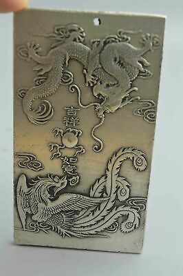 Collectable Handwork Tibet Miao Silver Carve Ancient Dragon Phoenix Rare Pendant