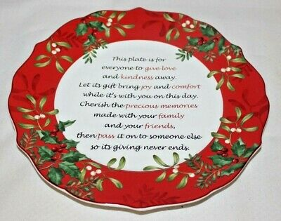 222 Fifth Christmas Foliage Red Giving Platter Plate Serving Sharing Gift New