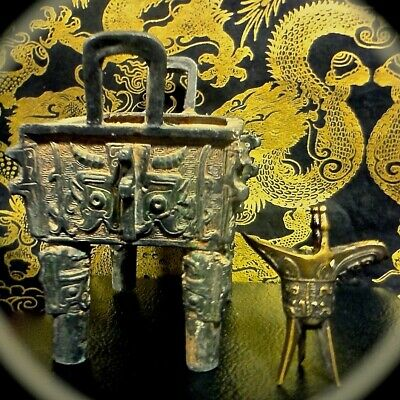 Two Antique Chinese Tomb Bronzes *1) Fang Ding Cauldron **2) Small Libation Cup