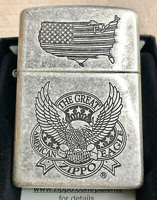 "New Zippo Antique Silver Plate ""The Great American Eagle"" Windproof Lighter"