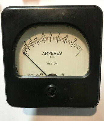(1) Vintage Weston Electric Model  476 A.C. Amperes Meter Measures 0-1 Used