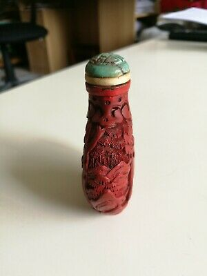 Antique Chinese Hand Carved Cinnabar Lacquer Snuff or Scent Bottle