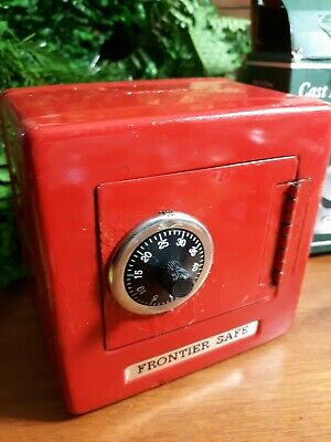 Frontier Safe Combination Lock Coin Piggy Bank Metal Tin Novelty Box . Red