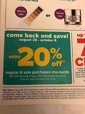 1-20% Off InStore & Online Belk Coupons Code Emailed =Pymnt Received & Processed