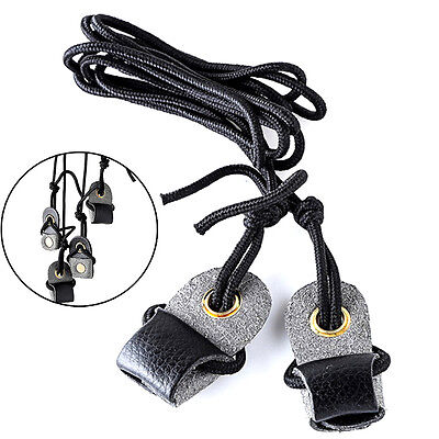 Archery Recurve Bow String Long bow Stringer Black Leather Rope Tool  DT^P0HWC