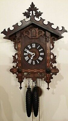 Antique Black Forest German Train House Railroad Cuckoo Clock 90 Day Guarantee