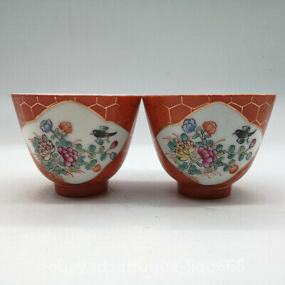 78MM Chinese Red Glaze Porcelain Famille Rose Flowers Birds Teacup Winecup Pair