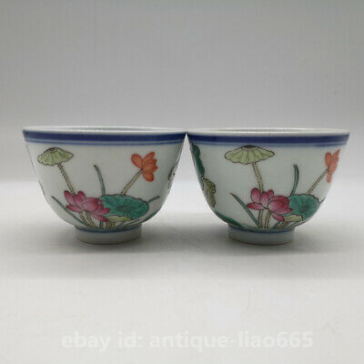 """3"""" Fine Chinese Famille-rose Porcelain Lotus Flower Cabbage Gongfu Teacup Pair"""