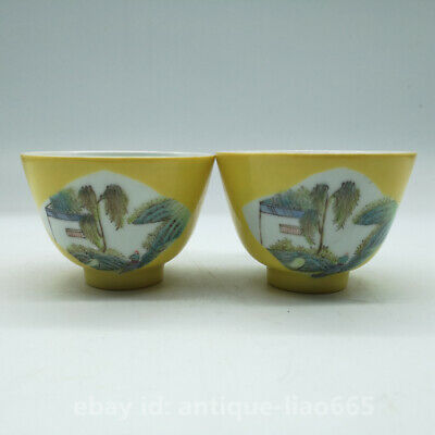 Chinese Yellow Glaze Porcelain Famille Rose Mountains Rivers Gongfu Teacup Pair