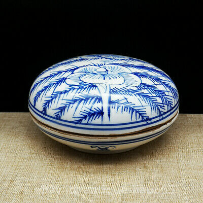 "4.1"" Fine China Blue White Porcelain Tree Peony Flower Pattern Rouge Jewelry Box"