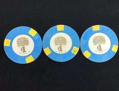 Three Obsolete Poker $1 Casino Chip Golden Nugget Las Vegas, NV