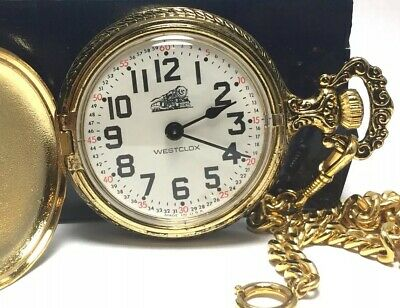 VTG Westclox Hunter Case Train Wind Up Pocket Watch Chain Made In USA Great Cond