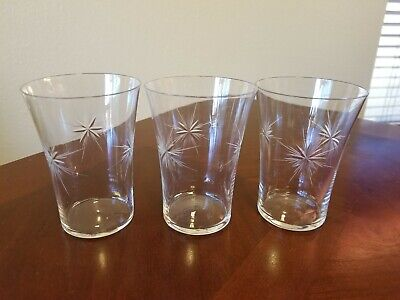Mid Century Modern Barware Bethlehem Star Atomic Tumbler Juice Glasses Set of 3