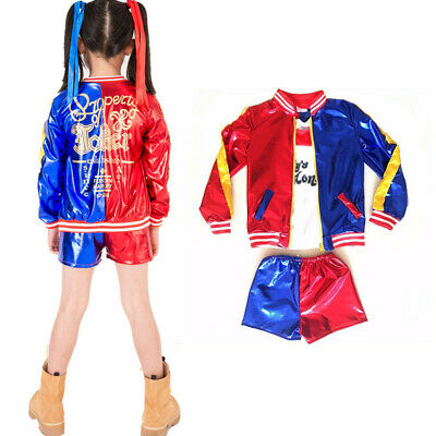 Kids Girls Suicide Squad Harley Quinn Coat Shorts Top Set Cosplay Costume Suit