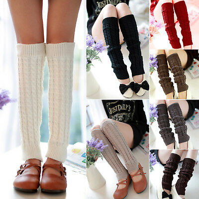 Women Fashion Crochet Knitted Winter Leg Warmers Legging Socks Retro Disco Party