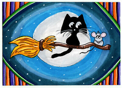 TAMBRA Halloween Black CAT Mouse Flying Broom ACEO Folk Art Original Painting