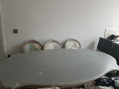 Antique Grey Shabby Chic Dining Table with 6 Chairs Annie Sloan French Style