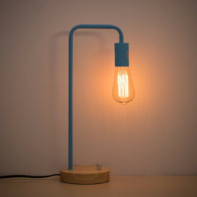 Blue Learning Desk Lamp Table Lighting Rotary Switch Logs Base Wooden Home Decor