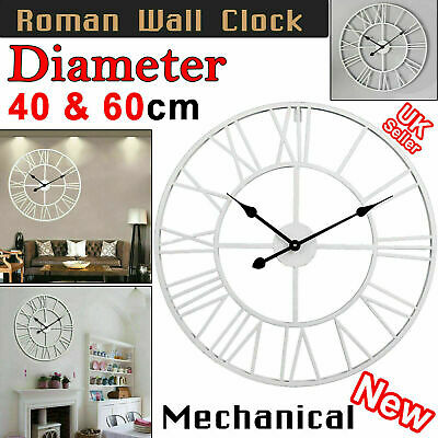 60/40Cm Extra Large Roman Numerals Skeleton Wall Clock Big Giant Open Face Round