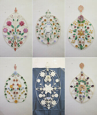 Six Wall Wrought Iron Decorated with Designs Floral Blossom Vintage Lights