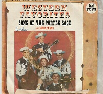 """SONS OF THE PURPLE SAGE(w/Linna Shane)-""""Western Favorites"""" Aust. 7"""" EP w/PS TOPS"""