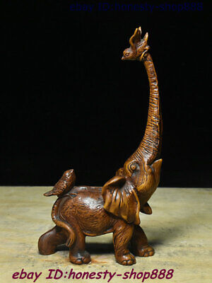 Collect Old China Boxwood Wood Carving Fengshui Animal Elephant Heffalump Statue