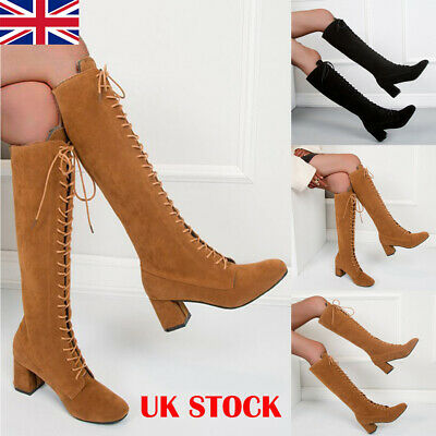 Women Winter Mid Block Heel Knee High Boots Ladies Lace Up Chunky Leather Shoes