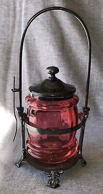 Wilcox Silver Plate Cranberry Glass Pickle Castor