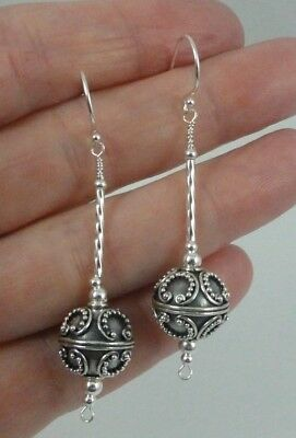 Handcrafted Sterling Silver Twist Ornate Round Bali Bead Dangle Earrings USA