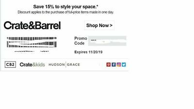 Crate and Barrel 15% off entire purchase 1coupon - sent fast - expires 11-30-19