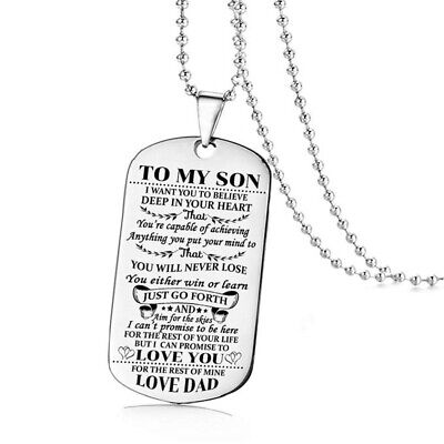 Women Men Stainless Steel Text Prayer Tag Pendant Necklace Chain Jewelry Gift #3