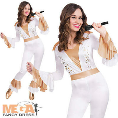 Disco Dancing Queen Ladies Fancy Dress 1970s Singer Icon Adults Costume Outfit
