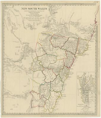 Antique Map of New South Wales by Walker (1833)