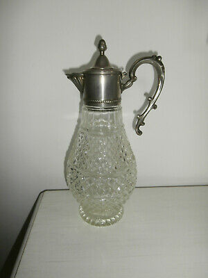 Vintage Italian Crystal Wine Decanter Caraffe With Silver Plated Lid And Handle