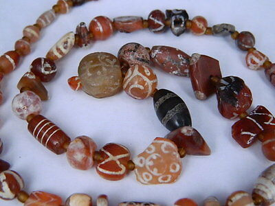 Ancient Etch Carnelian Beads Strand Roman 200 BC No Reserve #BD15088