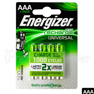 4 X Energizer Piles AAA Rechargeable Universel 500mAh Accu Nimh HR03 4 Paquet