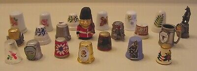 Lot of 21 collectible THIMBLES-Advertising, Places, Porcelain, Pewter, Holidays