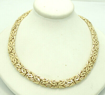 """14K Yellow Gold Byzantine Link Necklace 17.75"""" 7mm 18.8grams M1485"""