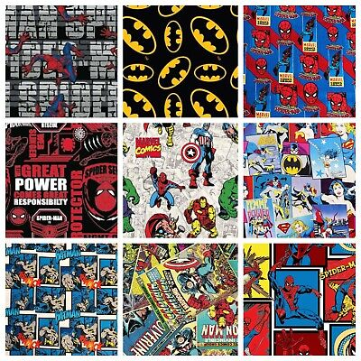 Super Heroes Marvel DC Comics Spiderman Batman Transformers 100% Cotton Fabric