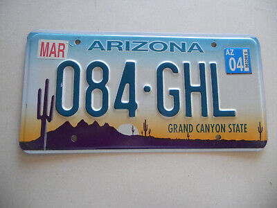 """US license plate Expired Arizona """"084-GHL""""  Grand Canyon State"""