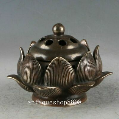 Ancient Marked Chinese Bronze Brass Lotus Dynasty Palace Incense Burner Censer