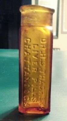 DR. H. S. THACHER'S LIVER PILLS CHATTANOOGA (Tennessee) amber medicine bottle