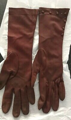 Ladies true vintage Dark Brown 3/4 Length Nylon Gloves By Cornelia James 7