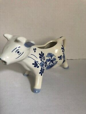 DELFT Blue and White Ceramic Windmill Cow Creamer 5 inches